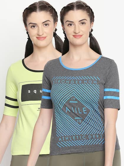 4a226952374 Neck. + 7 more. Ajile by Pantaloons Women Lime Green Printed Round Neck T- shirt