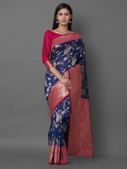 e8602158a0 Blue Saree - Buy Blue Color Women Sarees Online | Myntra