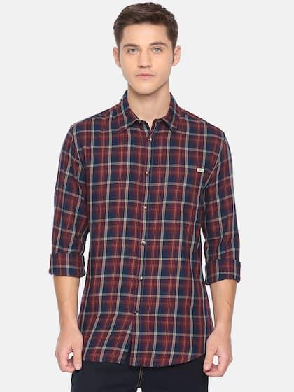 47557fd57 Jack & Jones Men Red & Navy Blue Slim Fit Checked Casual Shirt