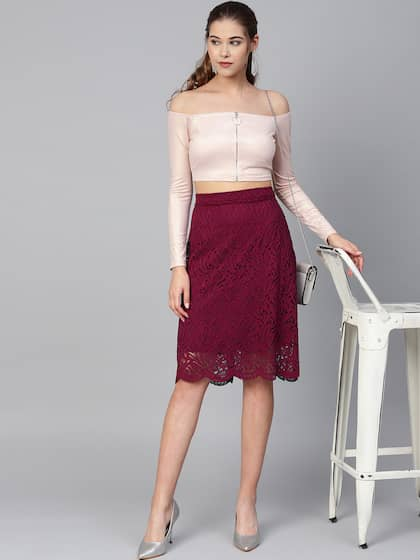 188057330f8 Knee-Length Skirts | Buy Knee-Length Skirts Online in India at Best ...