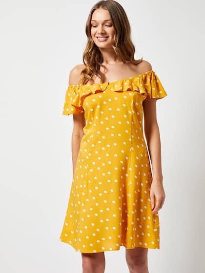 834faec0d0 DOROTHY PERKINS Women Mustard Yellow & Off-White Polka Dots Print A-line  Dress