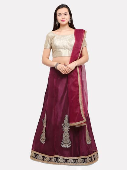 8272de5ce0 MOKSHA DESIGNS Magenta Semi-Stitched Lehenga & Blouse with Dupatta