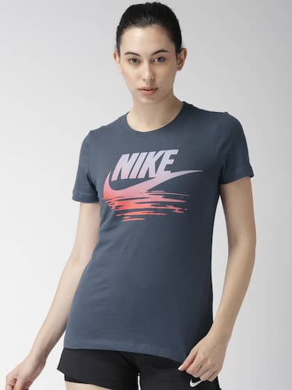 b38d1f702 Nike Women Navy Blue Printed Standard Fit AS W NSW Round Neck T-shirt