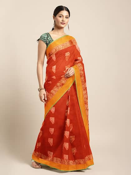 c2201ebf2d7 The Chennai Silks Classicate Orange Woven Design Silk Cotton Saree