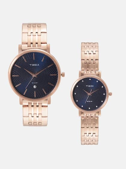 74d62981c Timex Set of 2 Navy Textured Analogue His   Her Watches TW2TPR212