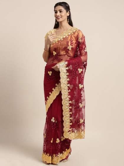 ee7611fb9d739 Net Sarees - Buy Stylish Net Saree in India Online - Myntra