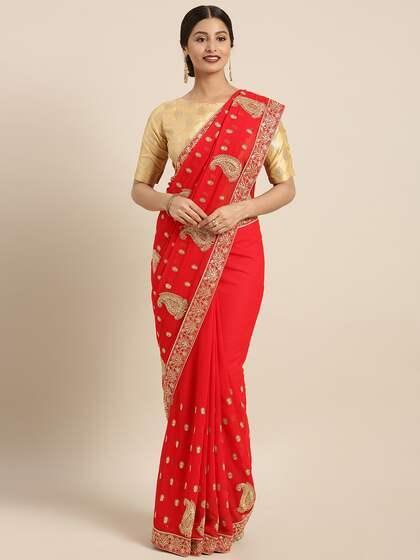 5e2b7e2264 Embroidered Sarees - Buy Designer Embroidery Saree Online | Myntra