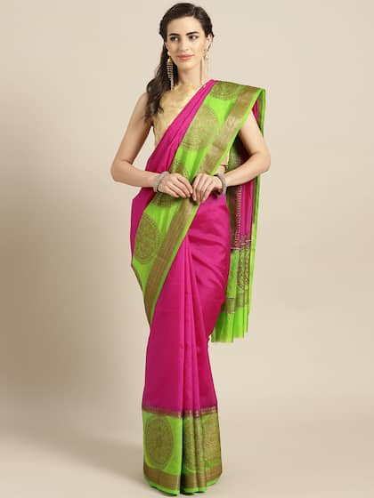 3dd4c9156d Pink Saree   Buy Pink Color Sarees Online   Myntra