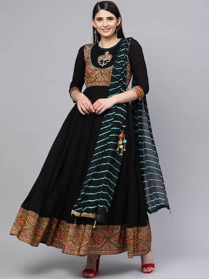 ccbd6581e3 Rain & Rainbow Women Black Yoke Design Kurta with Churidar & Dupatta