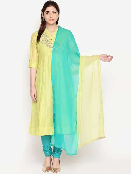 970a9131ad RANGMANCH BY PANTALOONS Women Lime Green & Yellow Embroidered Kurta with  Trousers & Dupatta