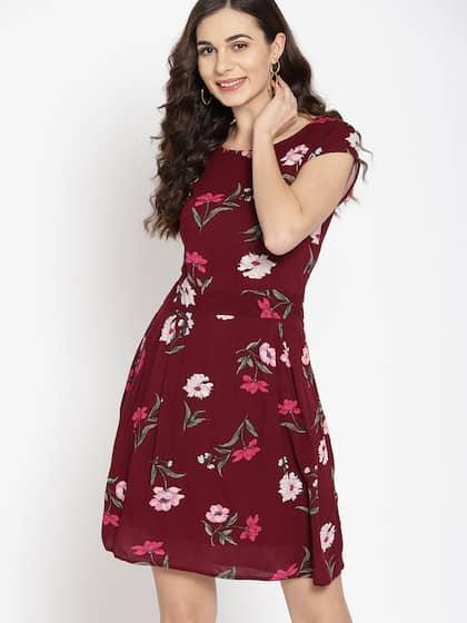 9ce92d16620 Mast & Harbour Women Maroon Floral Print Fit & Flare Dress