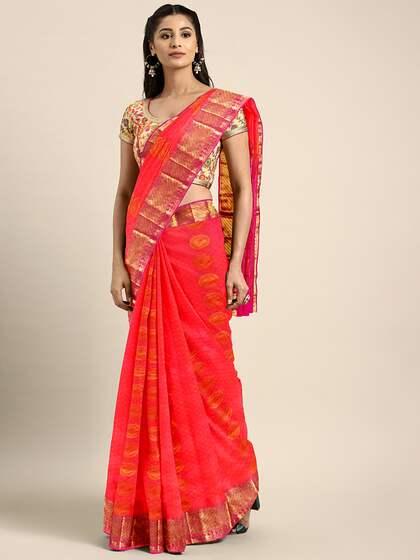 2725e2f1641c25 Peach Saree - Buy Peach Color Sarees online   Myntra