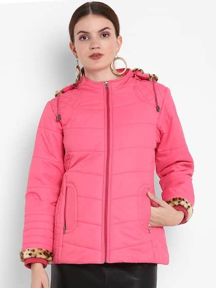 2a44e0ba2dac Alsace Lorraine Paris Women Pink Solid Lightweight Padded Hooded Jacket