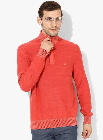 Coral Solid High Neck Sweater