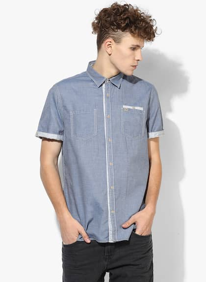 52de2c2b2f Tom Tailor. Blue Solid Regular Fit Casual Shirt