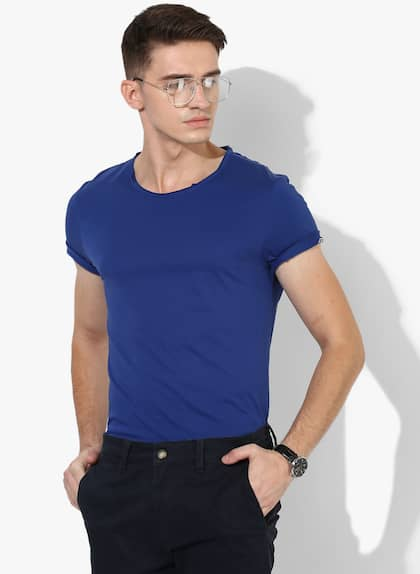 362e73a61 Being Human. Navy Blue Solid Regular Fit Round Neck T-Shirt