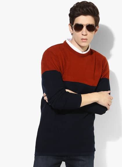 Navy Blue Solid Regular Fit Round Neck Sweater