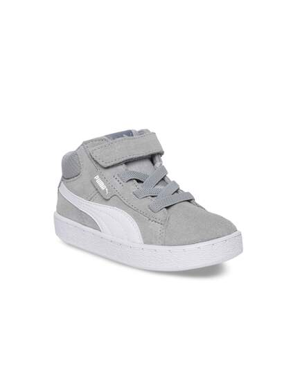 Puma Unisex Grey Colourblocked Leather Mid-Top Sneakers
