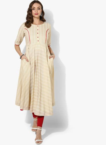 8f3288332c0bcc Beige Round Neck Khadi Printed Anarklai With Button Placket Detail And 3 4th  Sleeves