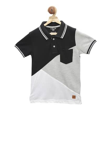 4166c01b Stupid Cupid. Colourblocked Polo Collar Grey Melange T-shirt