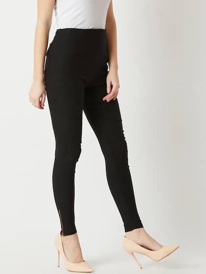 49f43a3035 Miss Chase Black Jeggings - Buy Miss Chase Black Jeggings online in ...