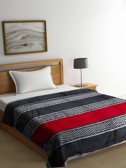 7c1173da21 BOMBAY DYEING Red   Black Striped AC Room 450 GSM Single Bed Blanket