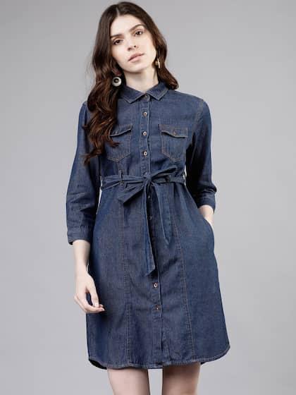 Women's Sleeveless Denim Dress Ladies Zip Front Tie Belt Shirt Dress 6,8,10,12,1
