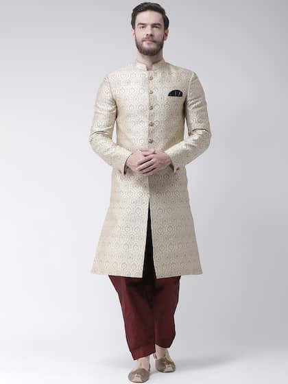 a8b98426f Hangup Men Beige Printed Sherwani With Maroon Solid Dhoti Pants