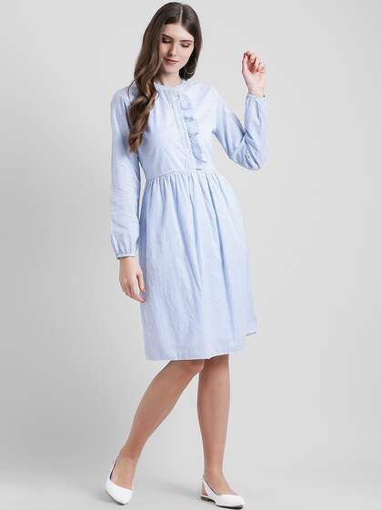 2ab0db1a96 Neck. + 10 more. Leo Sansini Women Blue Striped Shirt Dress