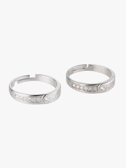 6f7c3e8d98 Peora. Women Silver Plated Crystal Love Forever Wedding Band Adjustable  Couple Rings