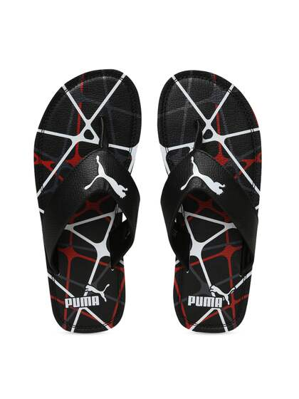815c8d9e7043 Puma Men Black Textured Thong Flip-Flops 37108303-Dark Shadow