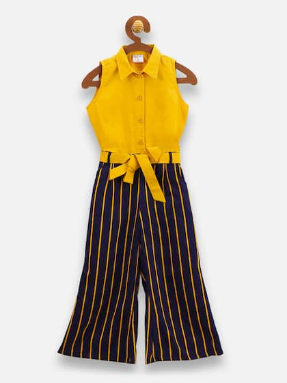 ef44f5d924a LilPicks Girls Yellow   Navy Blue Striped Basic Jumpsuit