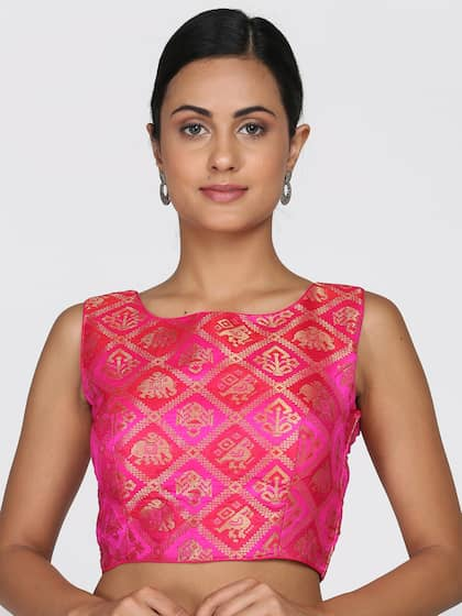 36a62a98ffb Size. Soch Women Pink   Gold-Coloured Embroidered Silk Saree Blouse