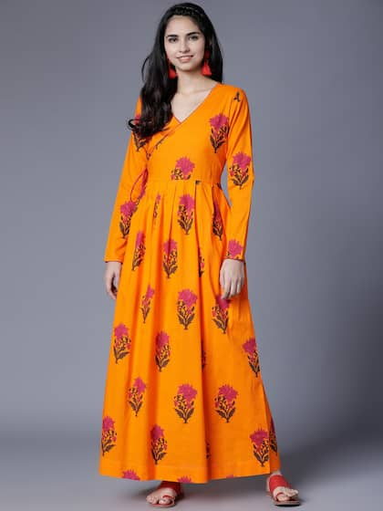 7f230e815c Neck. + 10 more. Vishudh Women Yellow Printed Maxi Dress