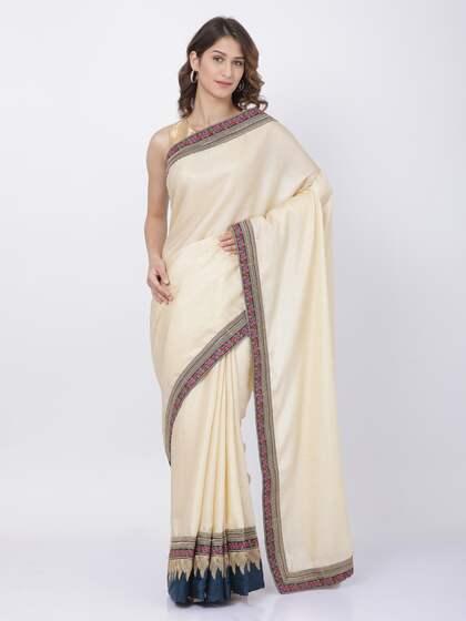 5f49d66a5e04e1 Cream Saree | Buy Cream Colour Sarees Online in India