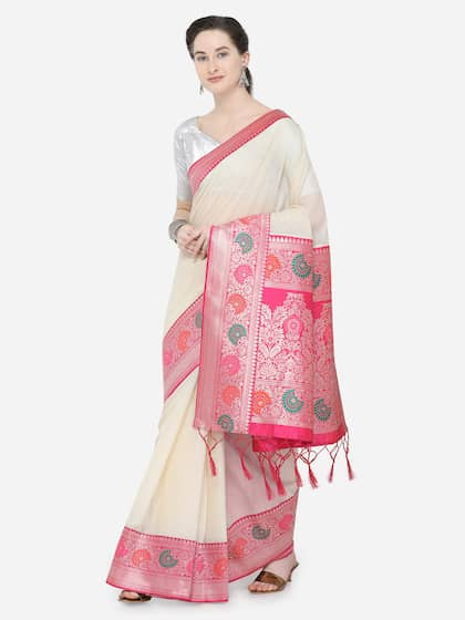 eb5ce7eb3dd176 Cream Saree | Buy Cream Colour Sarees Online in India