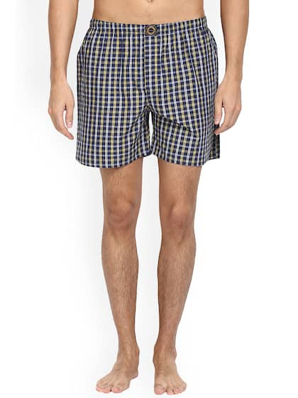 Joven Mens Navy Blue & Multicoloured Checked Boxers JB09