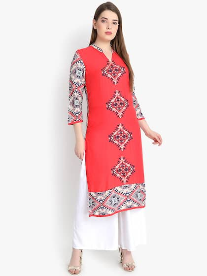 rangeelo rajasthan Women Red Printed Straight Kurta