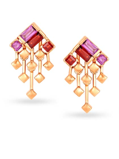 Mia by Tanishq 14KT Rose Gold Citrine and Amethyst Drop Earrings
