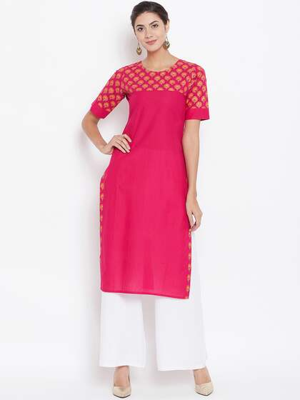 rangeelo rajasthan Women Pink Printed Straight Kurta