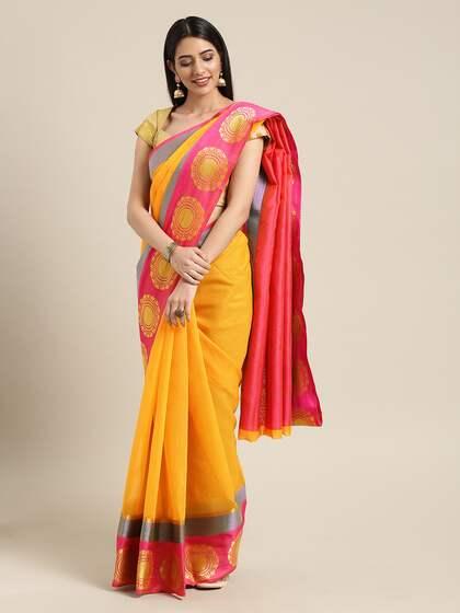 0810f9715d Yellow Saree - Buy Yellow Colour Saree Online   Myntra