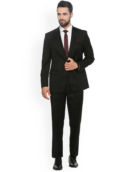 a20a467fa62c Louis Philipe Men Black Solid Regular-Fit Single-Breasted Suit