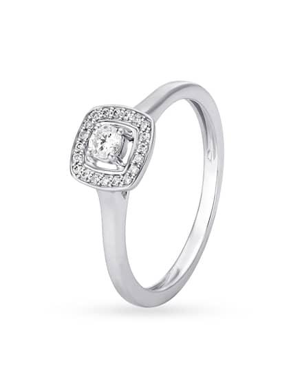 Mia by Tanishq Women 14KT White Gold Diamond Finger Ring