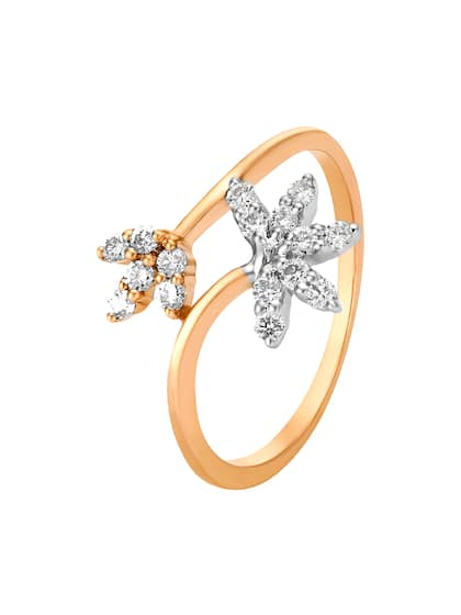Mia by Tanishq Women 14KT Rose Gold Diamond Finger Ring With Floral Design