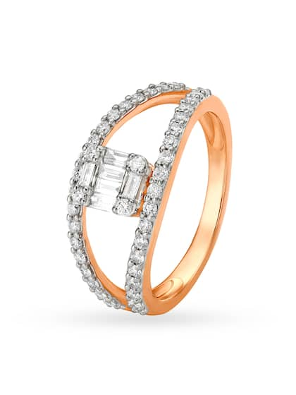 Mia by Tanishq Women 14KT Rose Gold Diamond Finger Ring