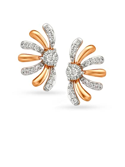 Mia by Tanishq 14KT White and Rose Gold Diamond Stud Earrings