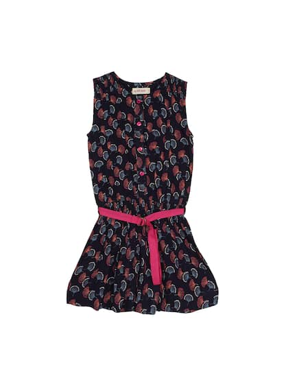 My Little Lambs Girls Navy Blue & Pink Printed Drop-Waist Dress