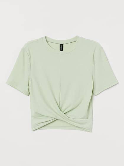 Woman Rib Crop T-shirt  Floral Printed Short Sleeve Ruffle Rib Crop T-shirt S-L