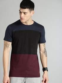 Roadster Men Black & Maroon Colourblocked Round Neck T-shirt