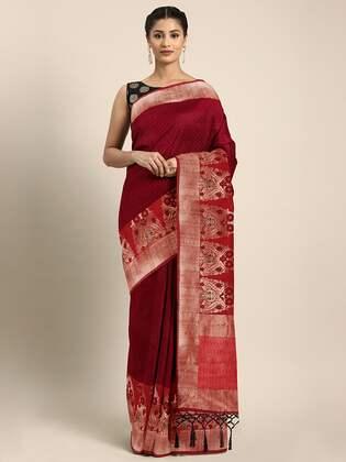 Red & Black Silk Blend Woven Design Banarasi Saree